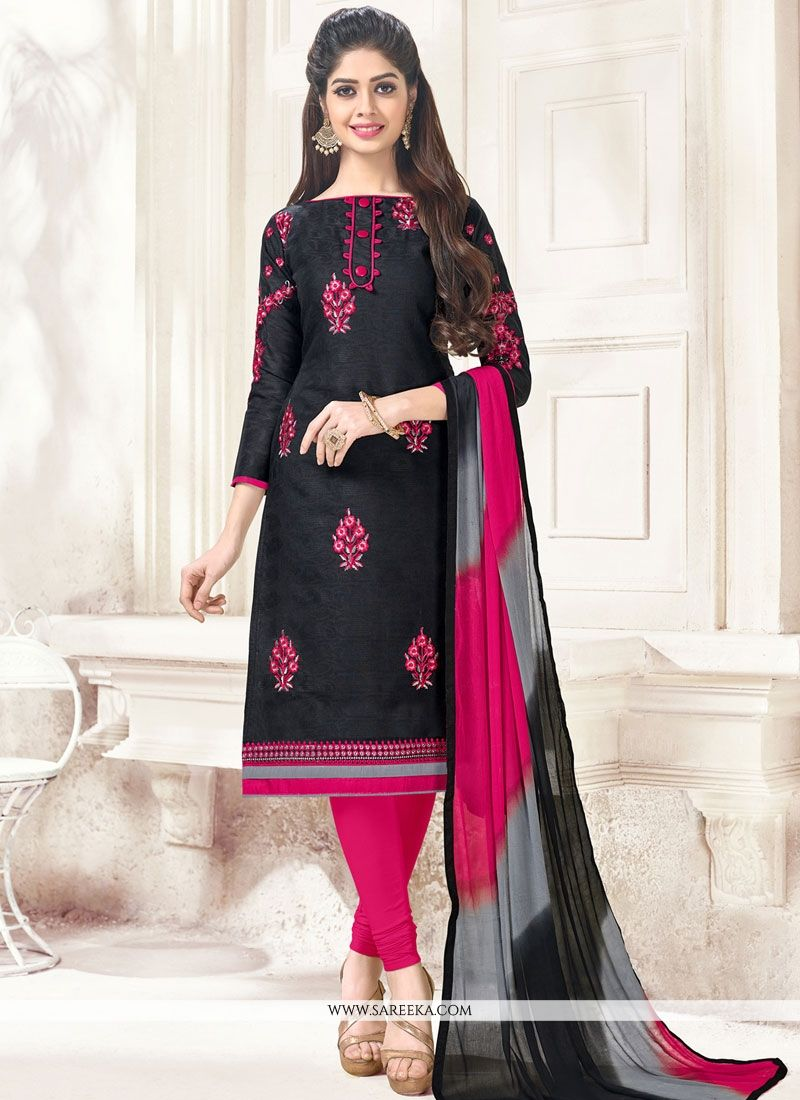 Black Embroidered Work Cotton   Churidar Suit