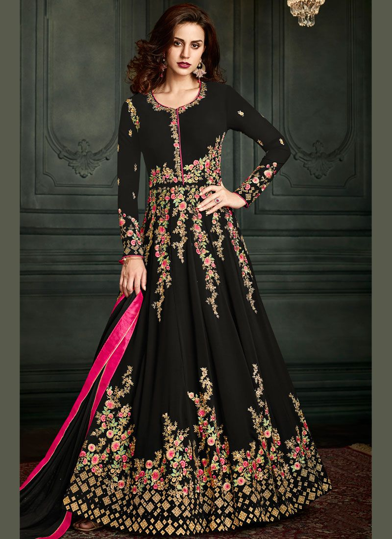 Black Embroidered Work Floor Length Anarkali Suit