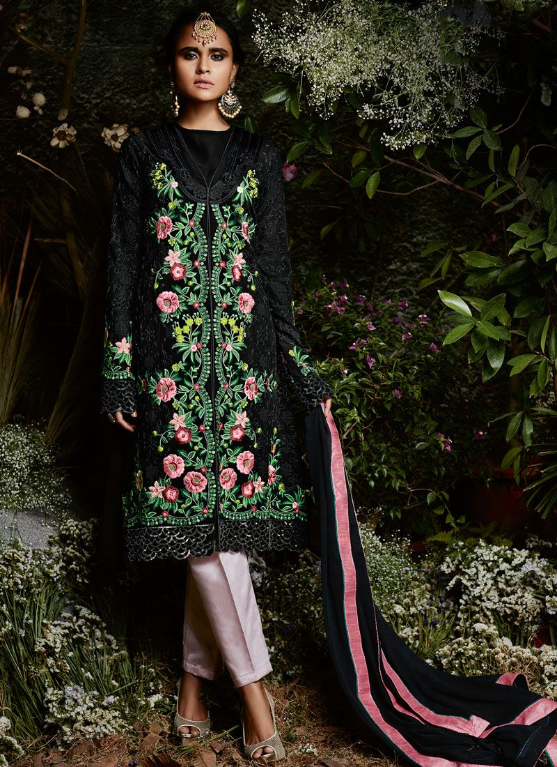 Black Embroidered Work Pant Style Suit