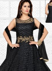Black Fancy Fabric Wedding Readymade Anarkali Suit