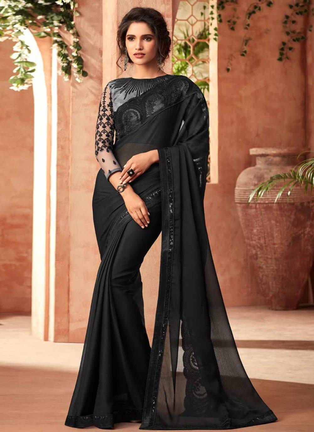 Black Faux Chiffon Embroidered Traditional Designer Saree