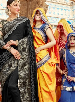 Black Faux Georgette Classic Designer Saree
