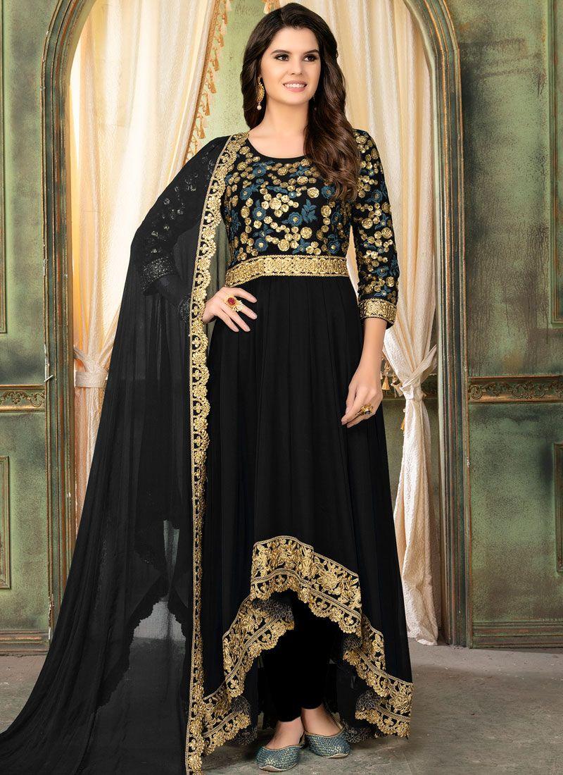 Black Faux Georgette Designer Salwar Suit