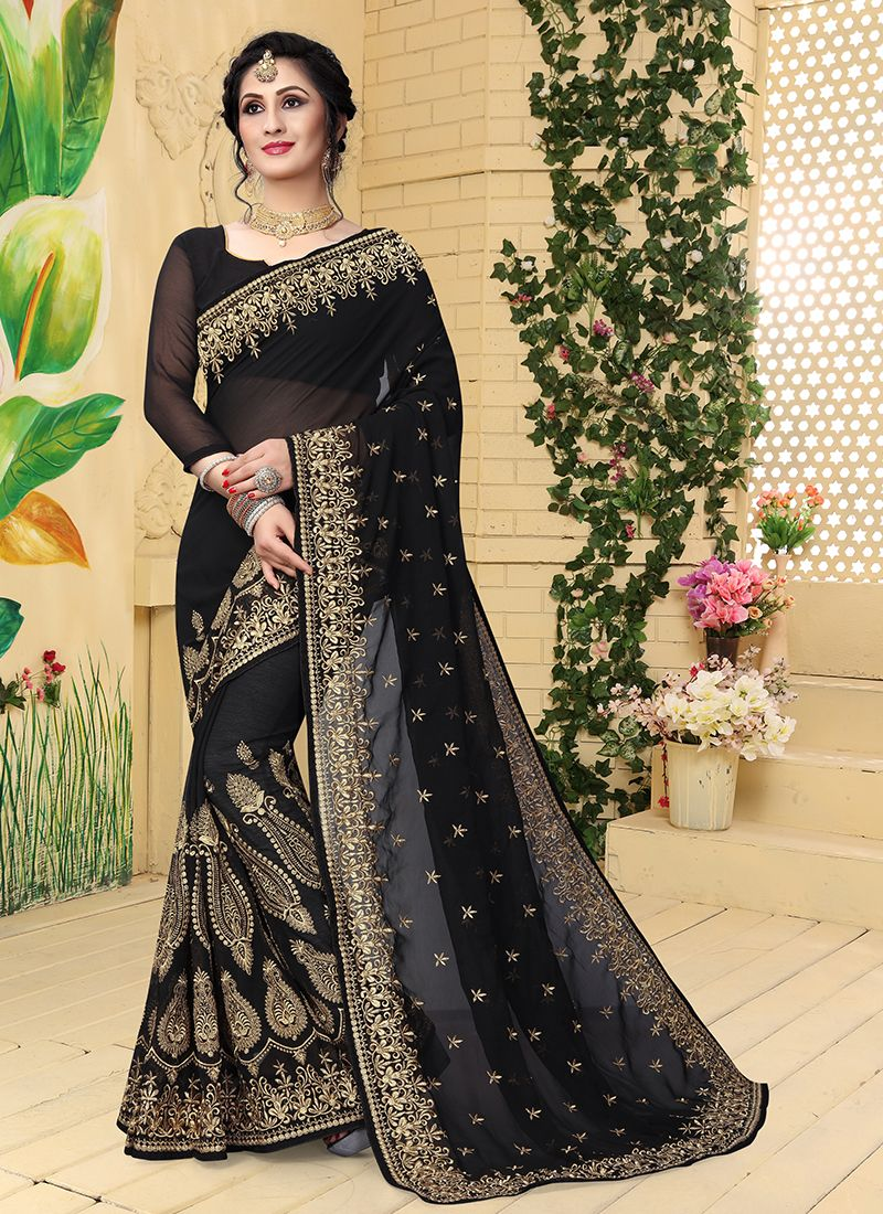 1957fea9ee Buy Black Faux Georgette Embroidered Classic Saree Online : 92167 -