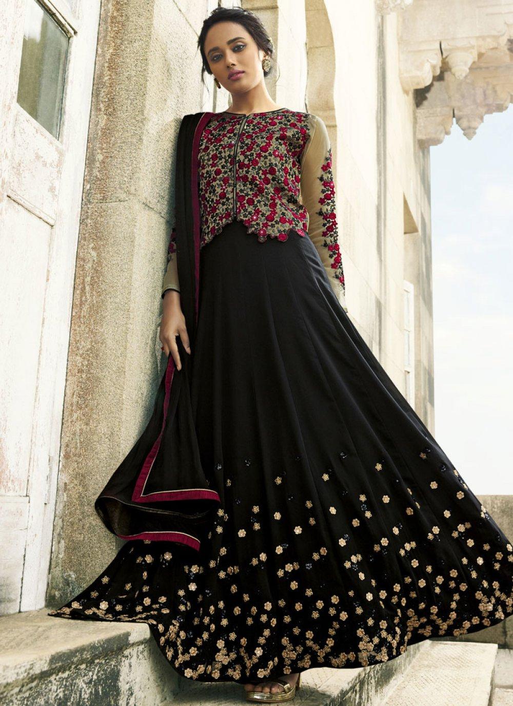 Black Faux Georgette Floor Length Anarkali Suit