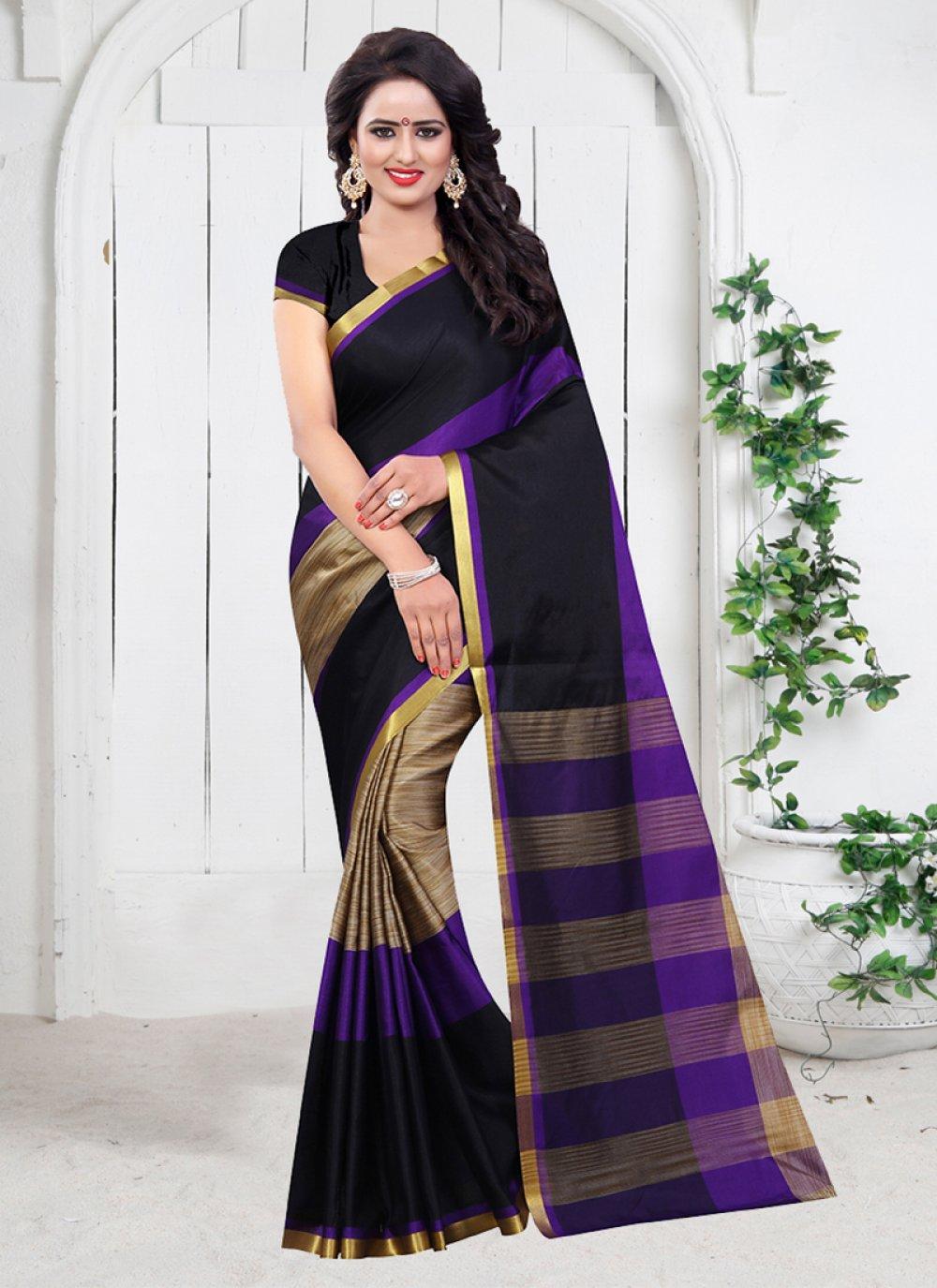 Black Festival Poly Cotton Designer Saree