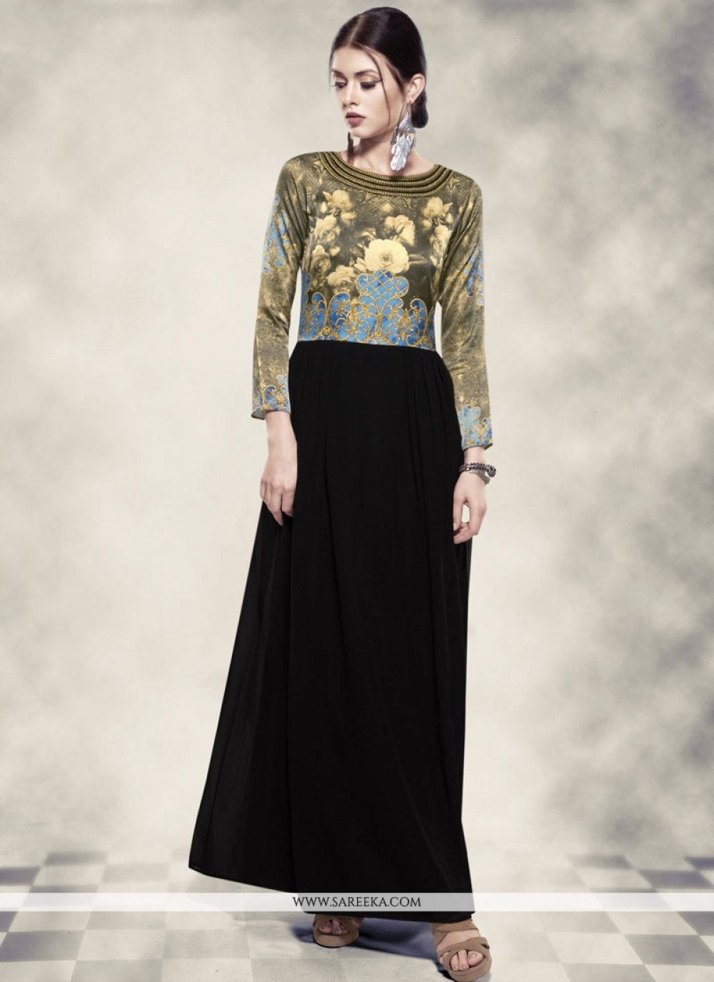Black Georgette Printed Work Work Readymade Gown