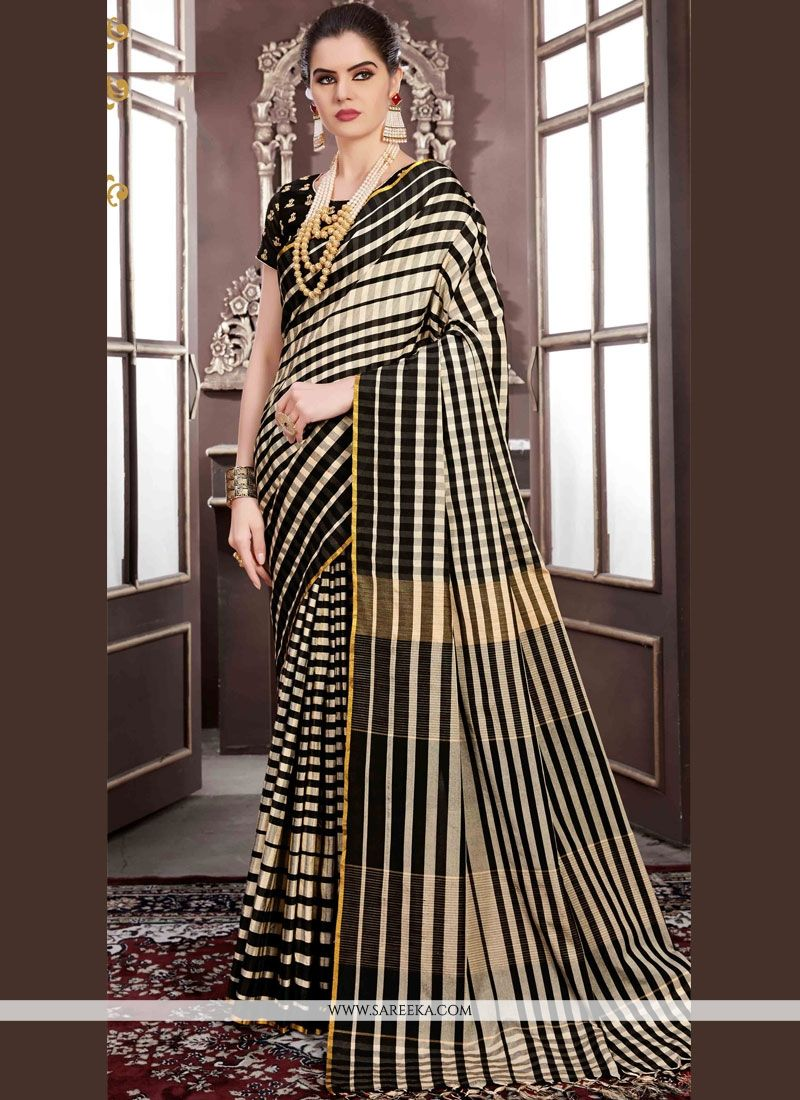 Black Handloom silk Classic Designer Saree