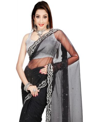 Black Handwork Work Net Classic Saree