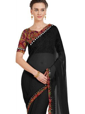 Black Lace Casual Saree