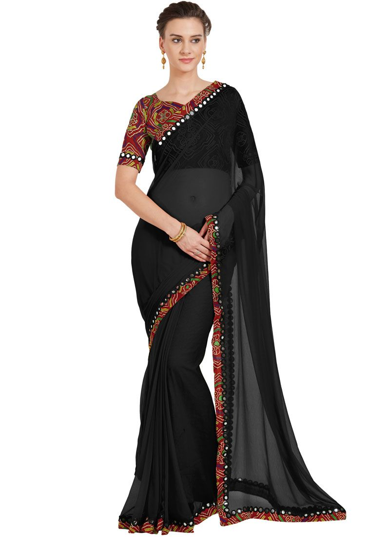 aa7d8981 Shop Black Lace Casual Saree Online : 95783 -