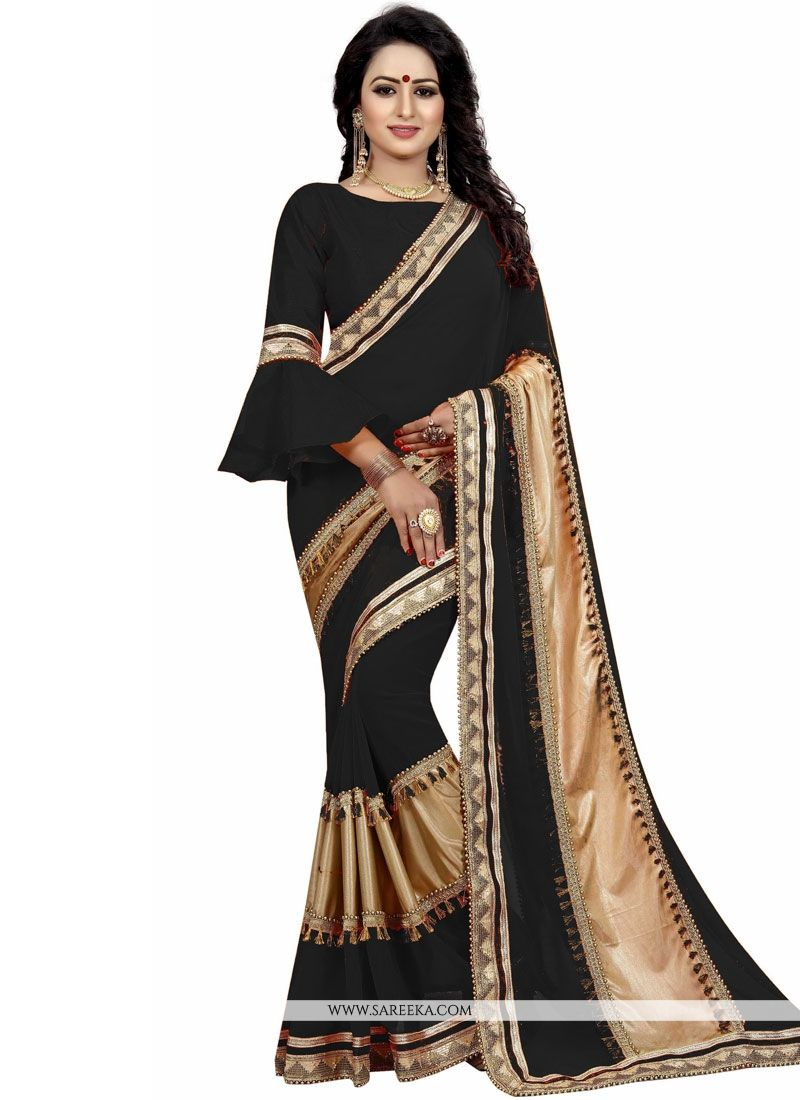 Black Patch Border Work Art Silk Traditional Designer Saree