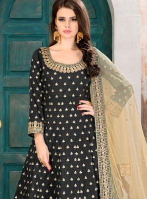 Black Patch Border Work Floor Length Anarkali Suit