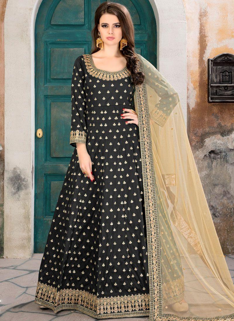 Black Patch Border Work Floor Length Anarkali Suit
