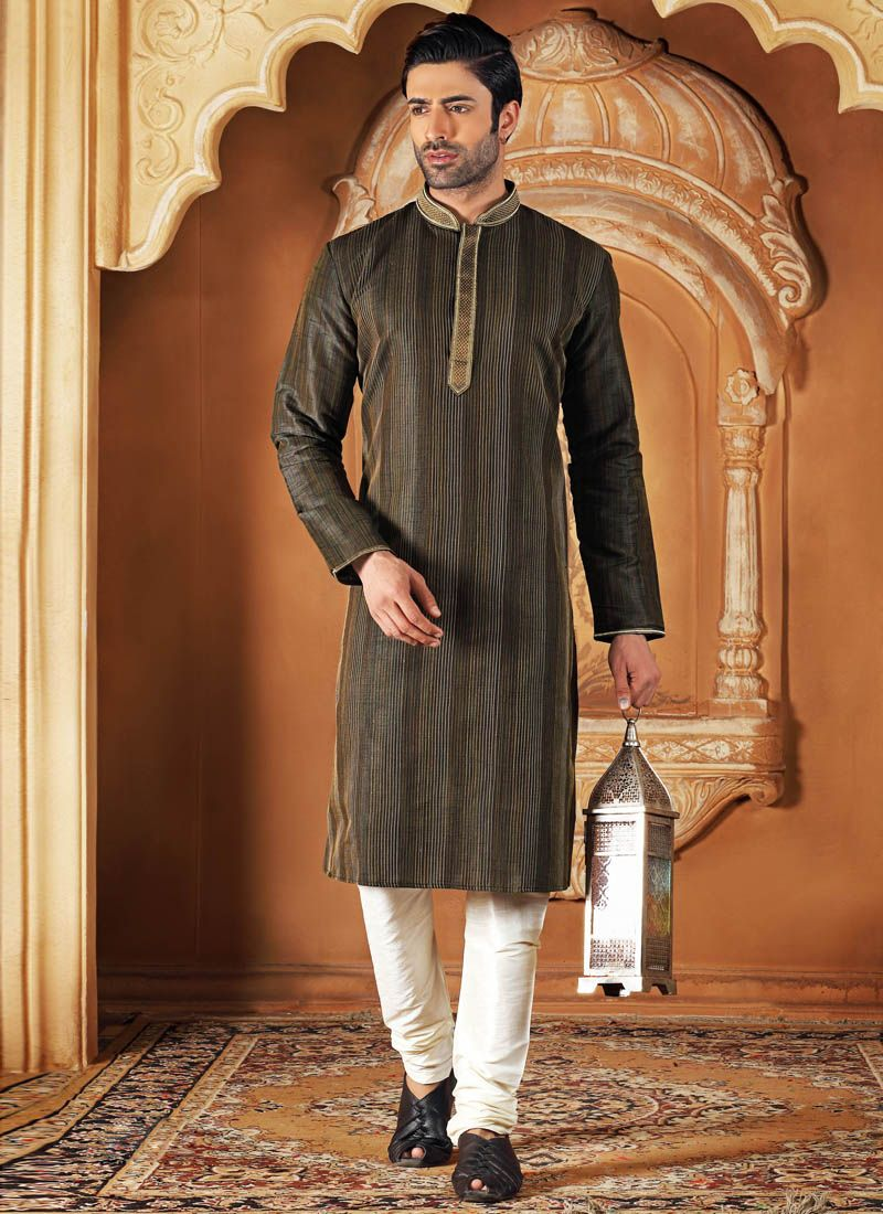 Black Plain Work Dupion Silk Kurta Pyjama