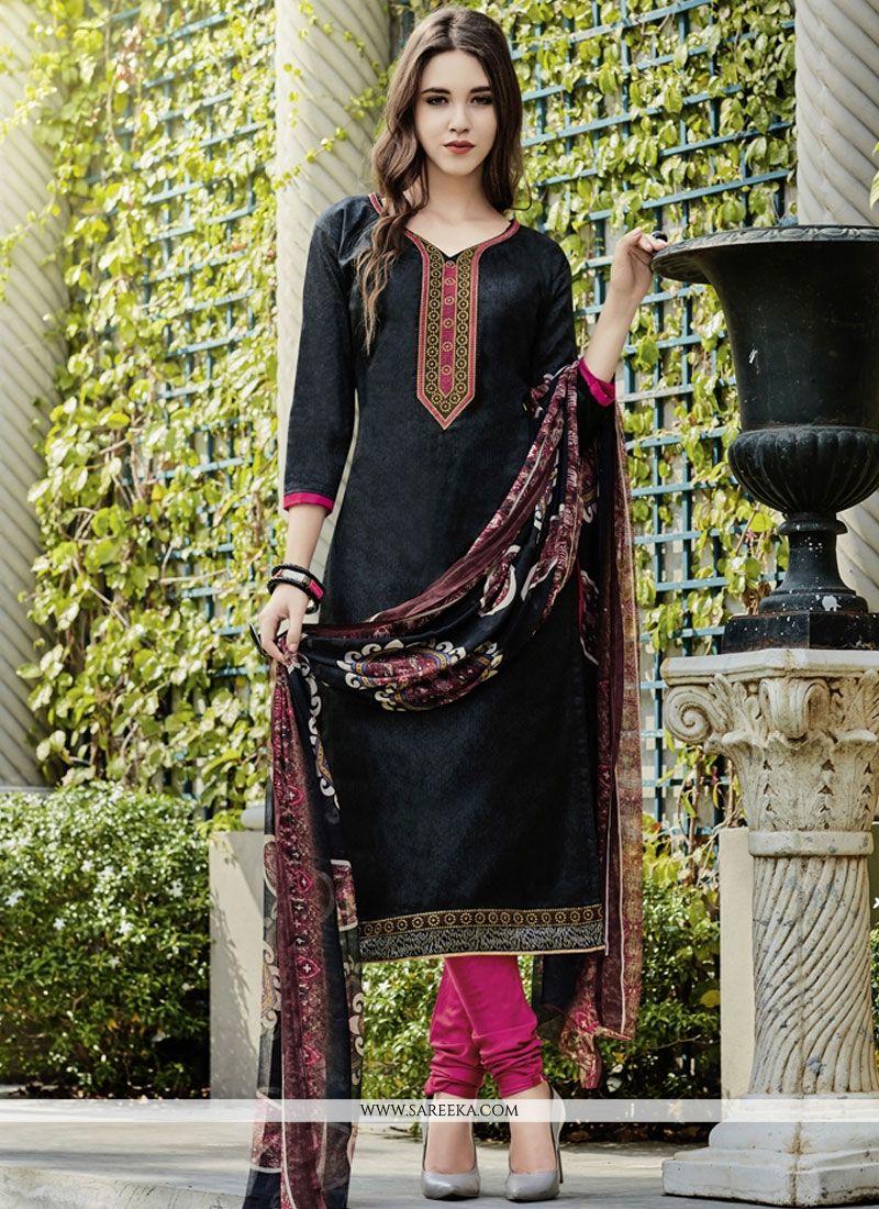 Black Print Work Churidar Suit