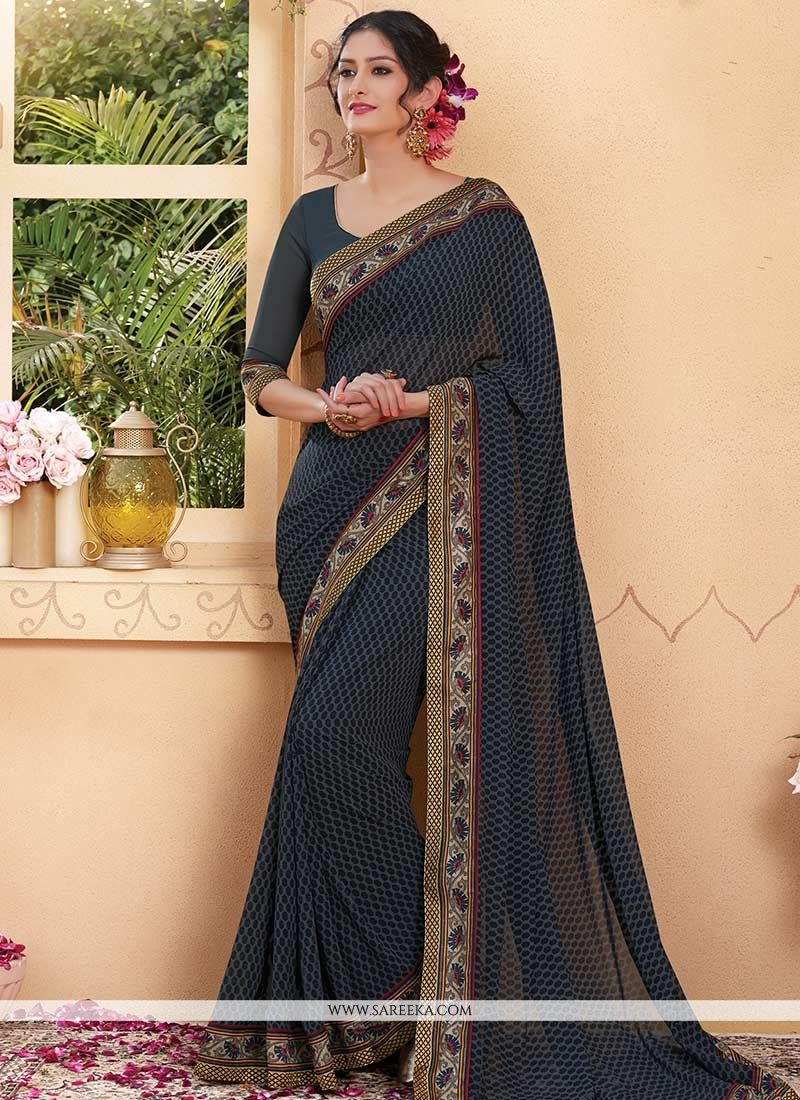 Black Print Work Faux Georgette Printed Saree