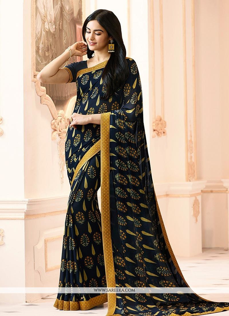 Black Printed Work Work Georgette Casual Saree