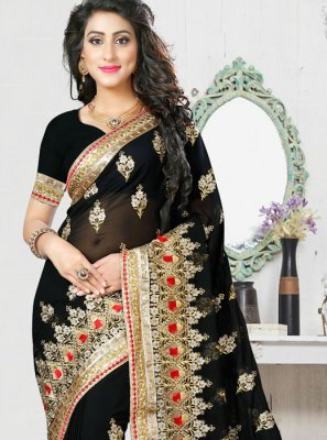 Black Resham Georgette Designer Saree