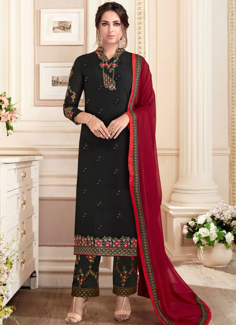 Black Resham Work Designer Straight Suit