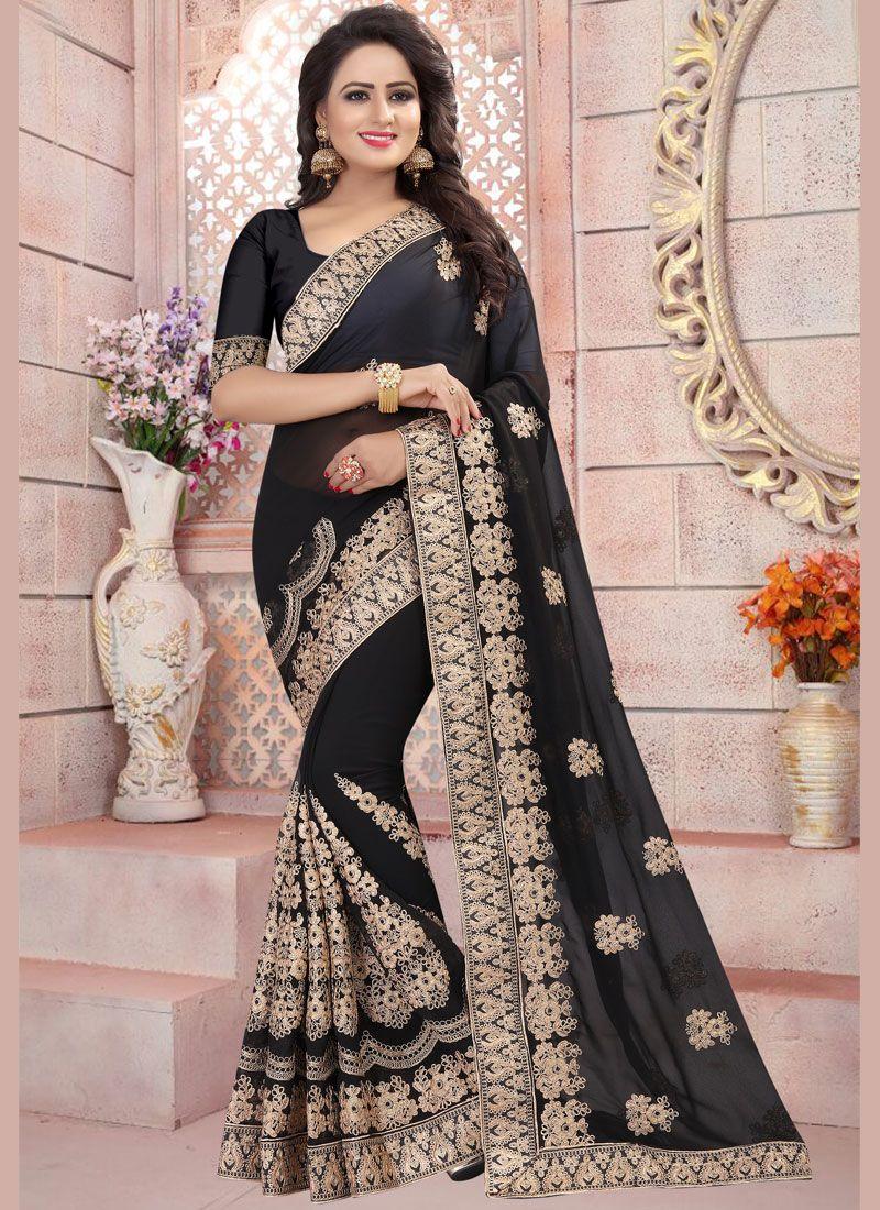 f33a37352c Buy Black Resham Work Faux Georgette Classic Designer Saree Online : 82014 -