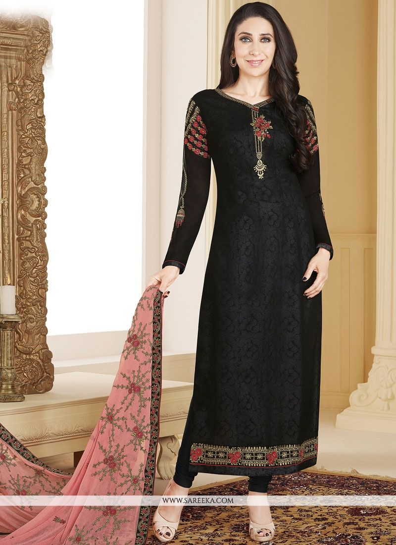 Black Resham Work Faux Georgette Designer Straight Suit