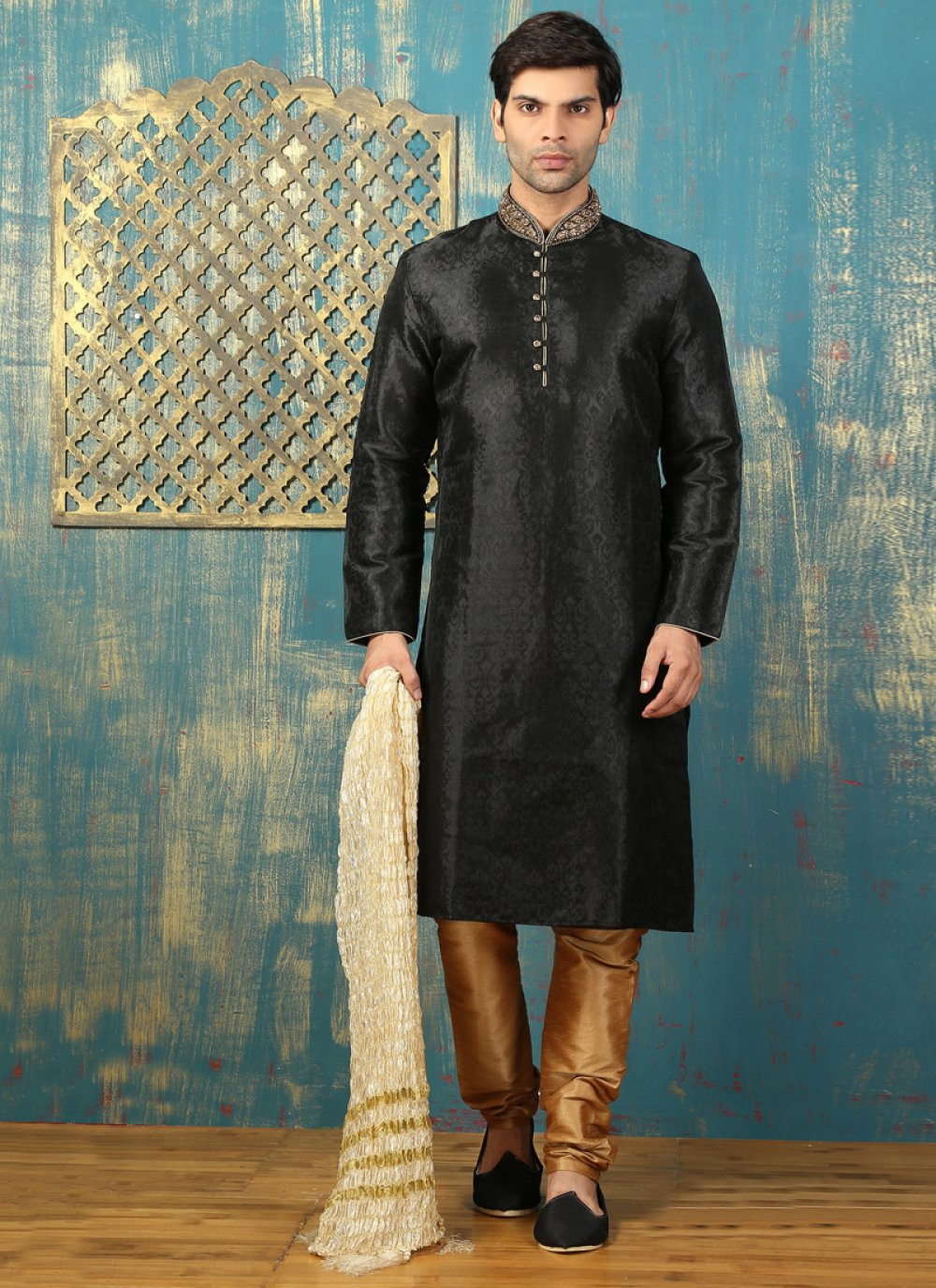Black Satin Kurta Pyjama with Embroidered