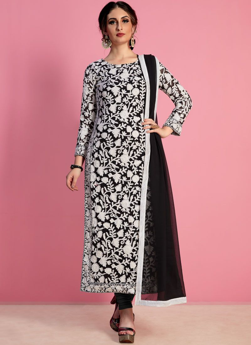 Black Thread Work Work Georgette Churidar Salwar Suit