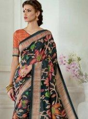 Black Tussar Silk Casual Saree