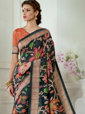 Black Tussar Silk Casual Saree