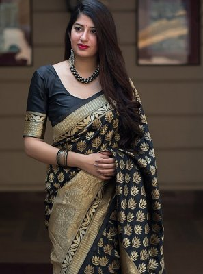 Black Weaving Traditional Saree