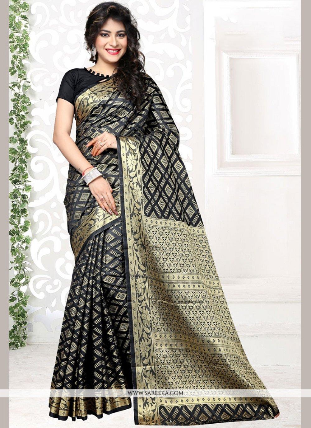 Black Weaving Work Art Silk Traditional Designer Saree
