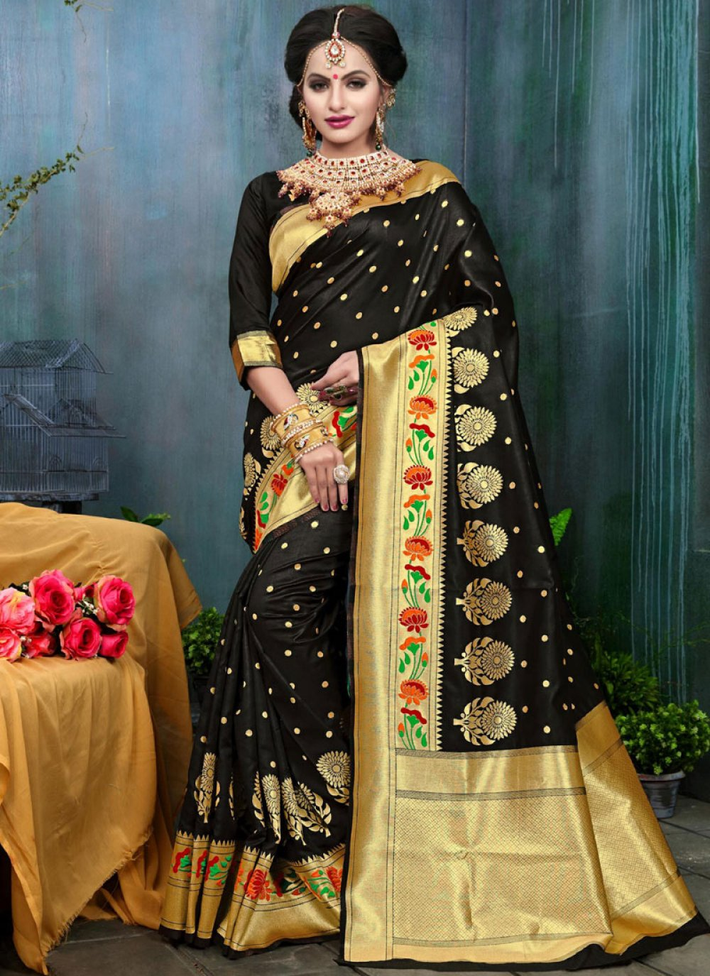Black Weaving Work Art Silk Traditional Designer Saree