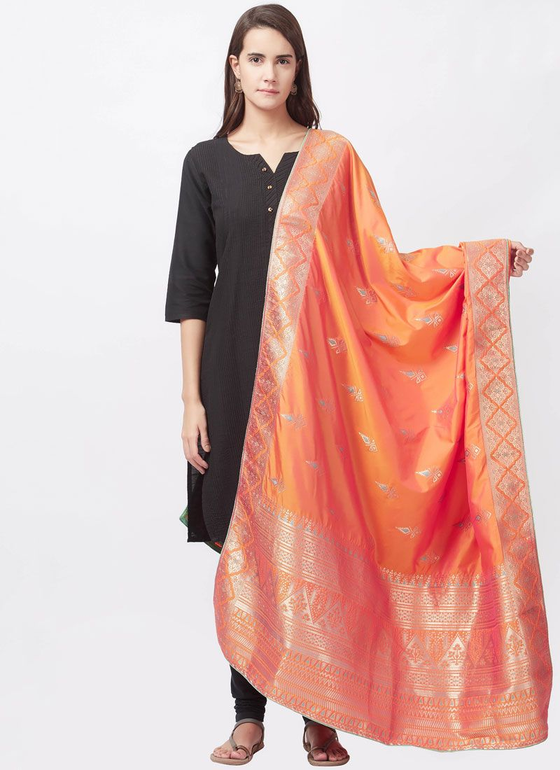 Black woven Work Art Silk Churidar Suit