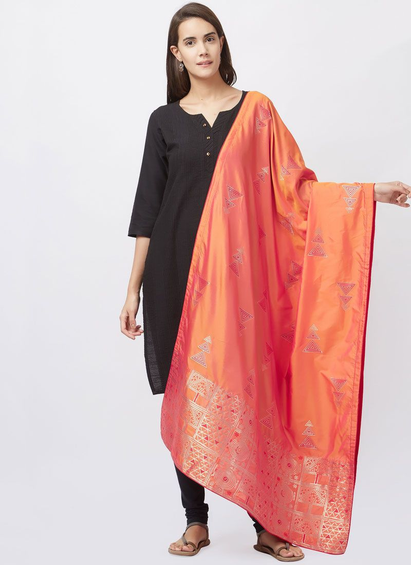 Black woven Work Art Silk Churidar Suit