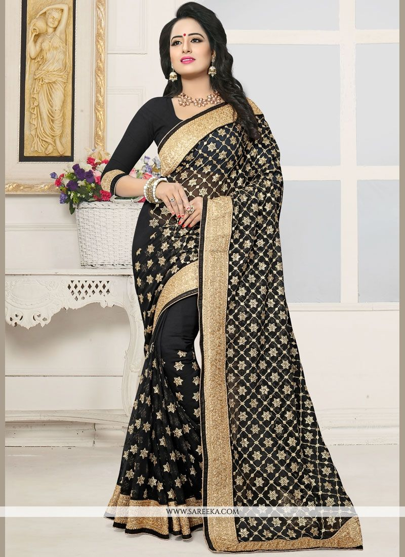 Black Zari Work Designer Saree