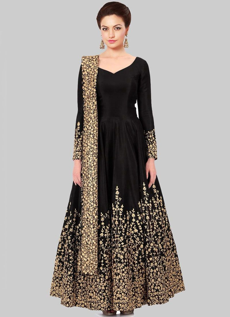 Black Zari Work Floor Length Anarkali Suit