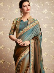 Blue and Brown Resham Festival Shaded Saree