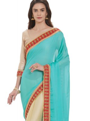 Blue and Cream Faux Georgette Casual Saree