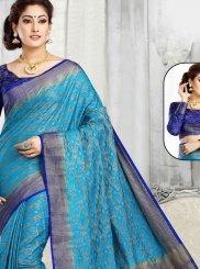 Blue and Firozi Jacquard Border Designer Traditional Saree