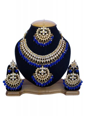 Blue and Gold Stone Work Festival Necklace Set