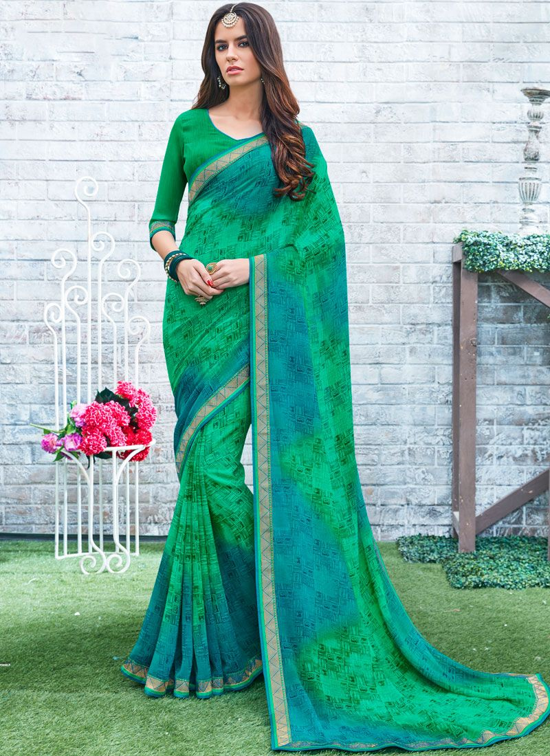 Blue and Green Printed Saree