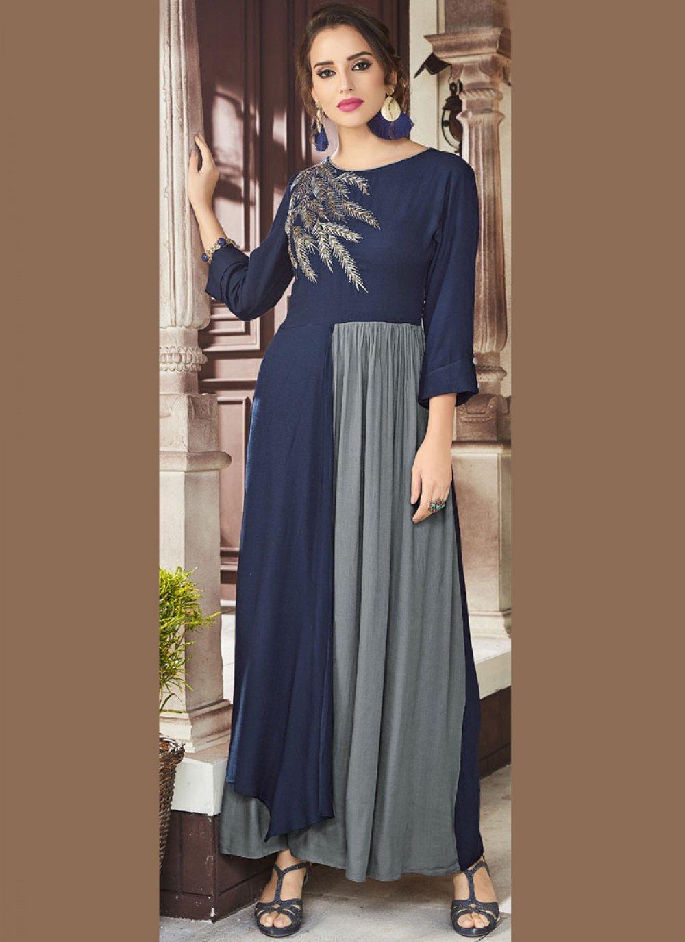 Blue and Grey Fancy Fabric Party Wear Kurti