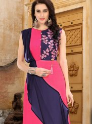 Blue and Hot Pink Faux Georgette Party Party Wear Kurti