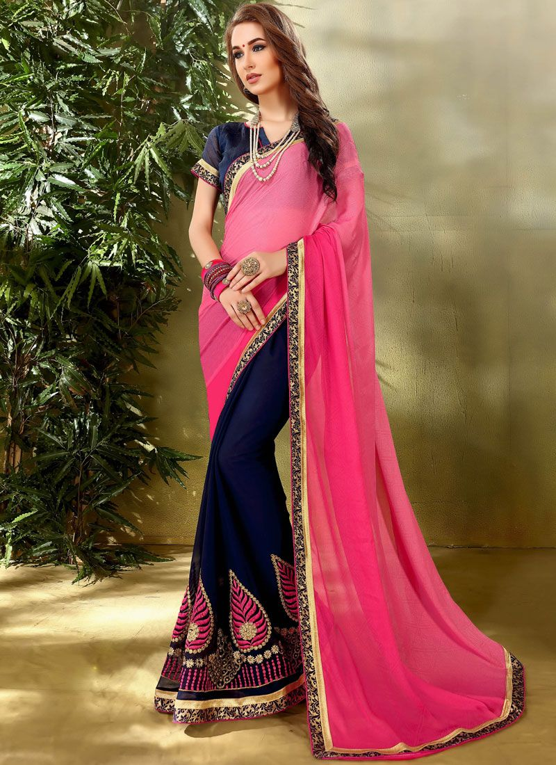 Blue and Hot Pink Jacquard Half N Half  Saree