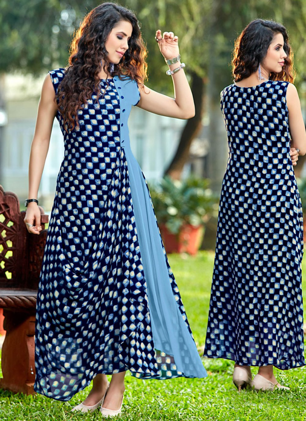 Blue and Navy Blue Georgette Party Wear Kurti