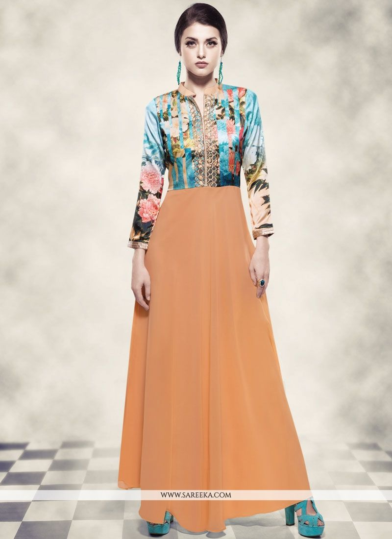 Blue and Orange Readymade Gown