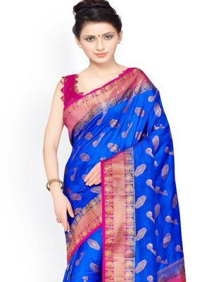 Blue and Pink Weaving Work Kanchipuram silk Designer Traditional Saree