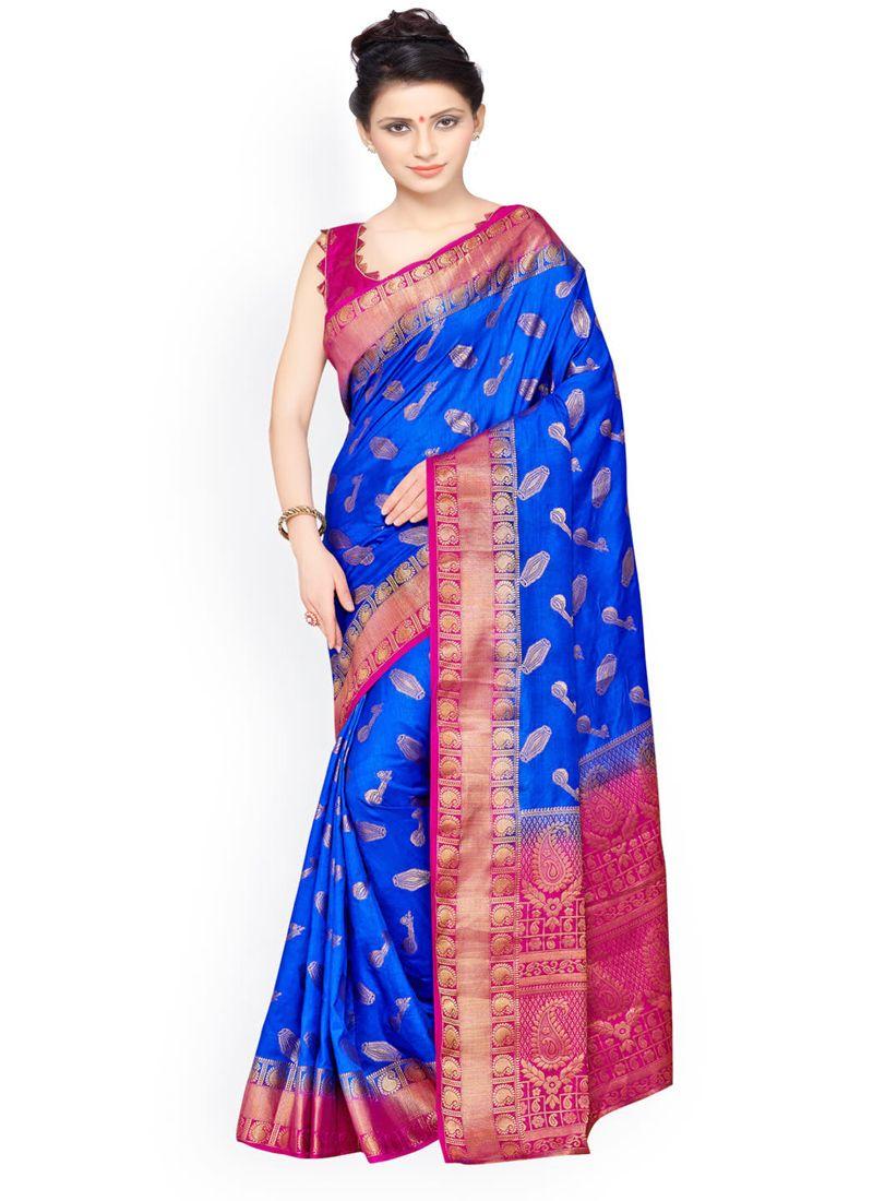 Blue and Pink Weaving Work Kanchipuram silk Designer Traditional Saree