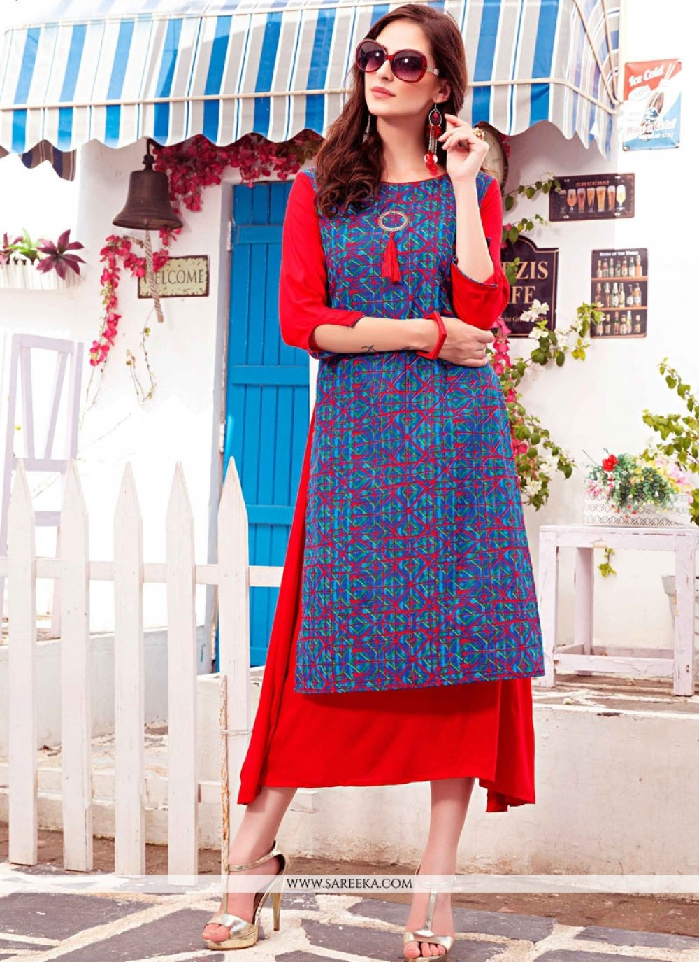 Blue and Red Print Work Party Wear Kurti